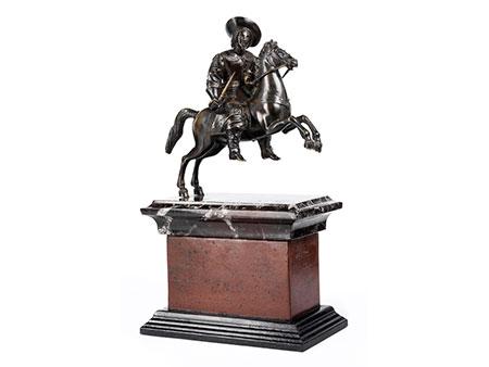 Bronzestatue eines Edelmannes zu Pferde, Umkreis Caspar Gras, 1585 - 1674