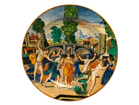 Große Majolika-Platte mit Istoriato-Dekor