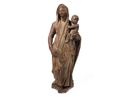Steinfigur einer Madonna mit Kind