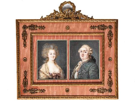 Miniatur-Doppelbildnis von Louis XVI und Marie Antoinette