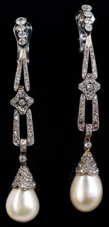 Diamant-Naturperlenohrhänger