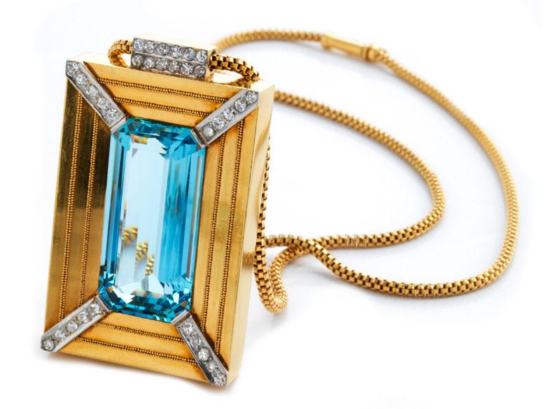 Aquamarin-Diamantanhänger mit Kette