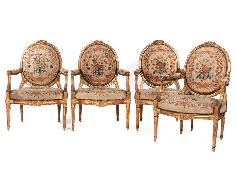 Satz von vier eleganten Louis XVI-Fauteuils