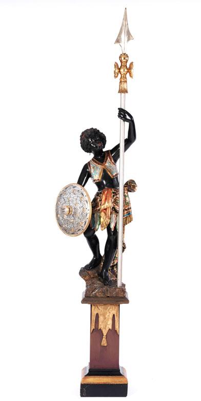 Dekorative Skulptur eines Mohren als Speerträger