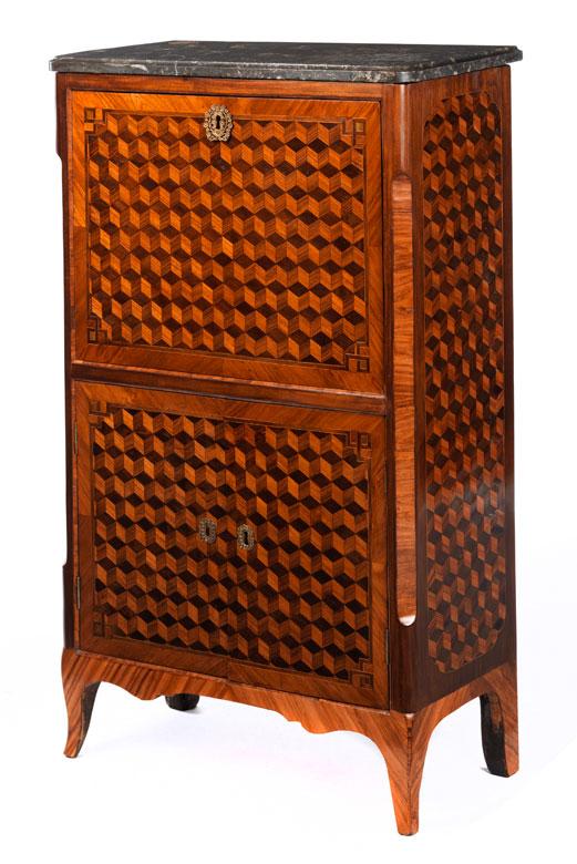 eleganter kleiner sekret r abattant hampel fine art auctions. Black Bedroom Furniture Sets. Home Design Ideas