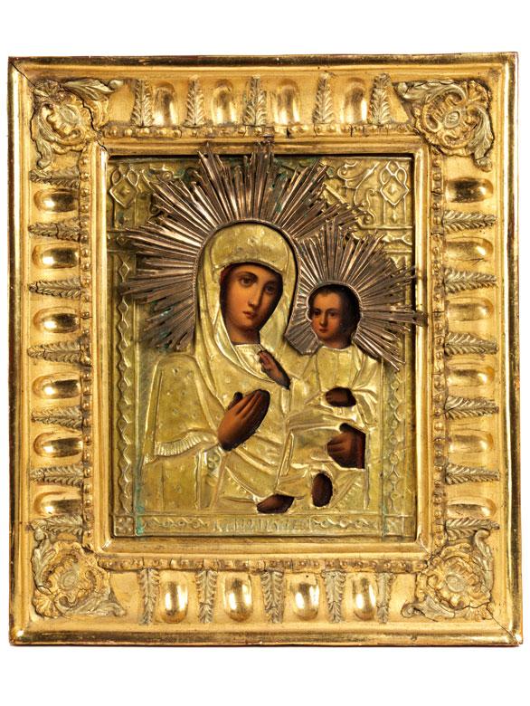 Russische Ikone mit Darstellung von Maria und Kind