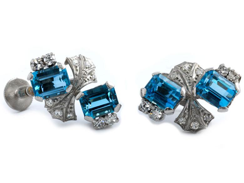 Aquamarin-Diamantohrringe