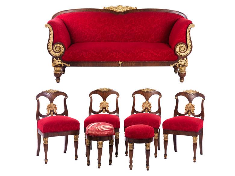 au ergew hnliche klassizistische sitzgruppe hampel fine art auctions. Black Bedroom Furniture Sets. Home Design Ideas