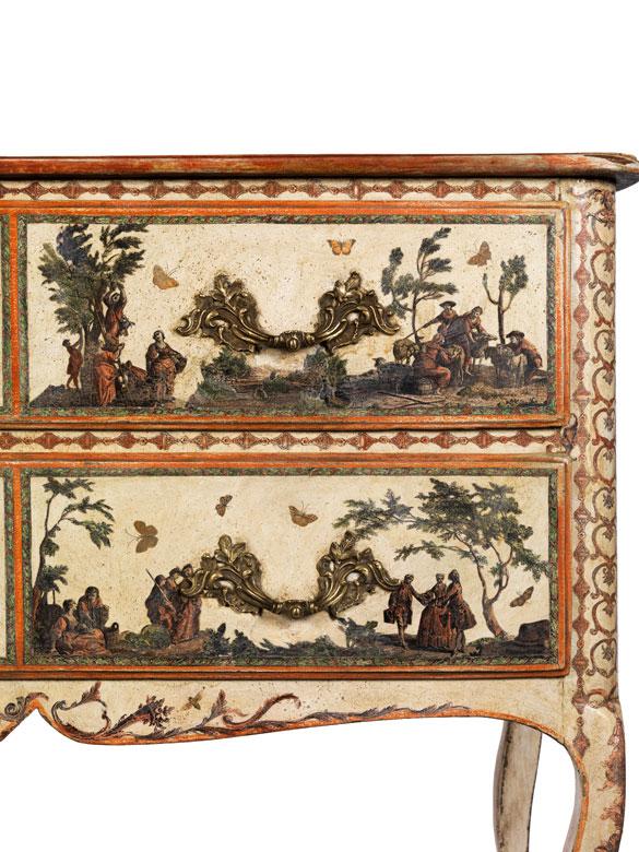 Rokoko kommode mit arte povera dekoration hampel fine for Kommode asia style