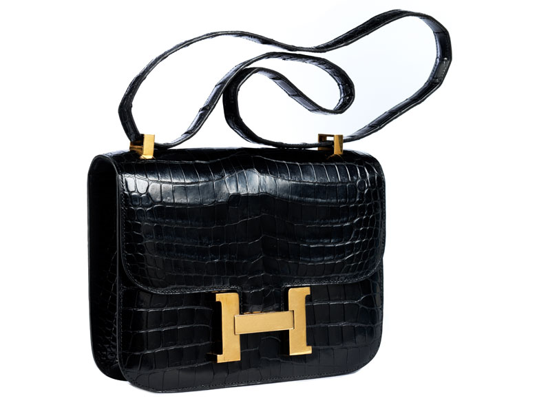 "Hermès Constance 24 cm Kroko ""Schwarz"""