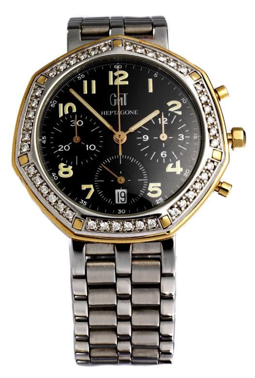 Große Damenarmbanduhr-Chronograph von HEPTAGONE GMT
