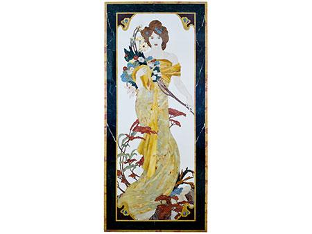 Dekoratives Wandpaneel mit Allegorie des Frühlings nach Alfons Mucha