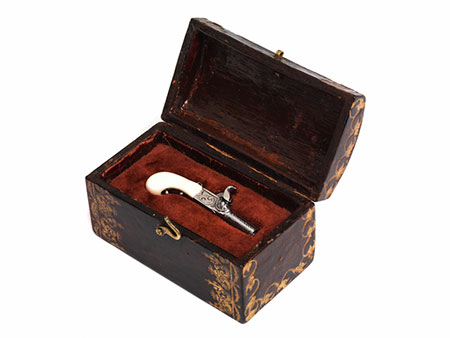 Seltene Miniaturpistole im originalen Kasten