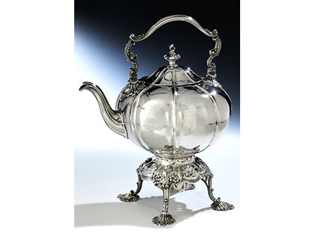 Große George IV Teekanne mit Rechaud