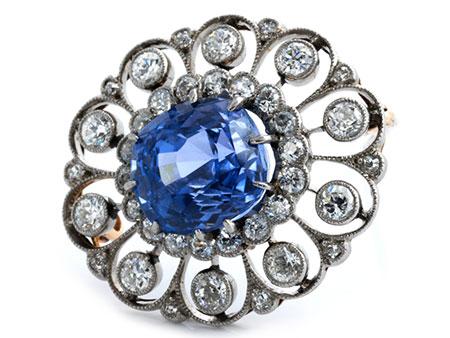 Saphir-Diamantbrosche