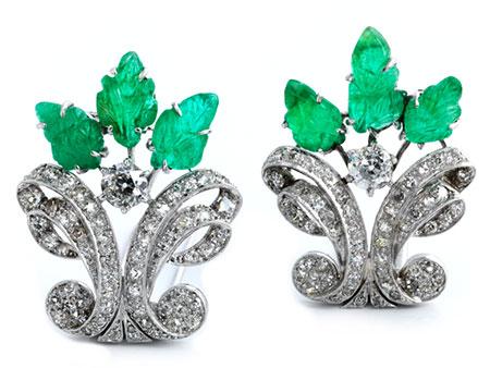 Zwei Diamant-Smaragdbroschen