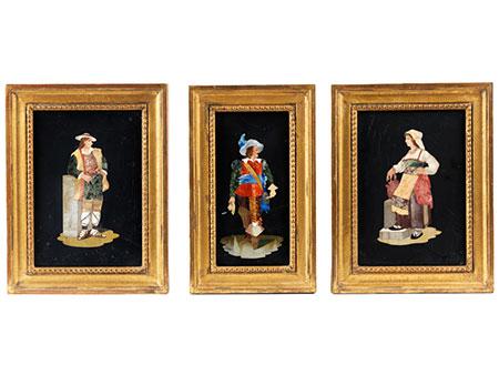 Satz von drei Pietra dura-Bildtafeln