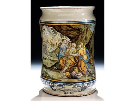 Großer Majolika-Albarello von Francesco Antonio Saverio Grue, 1686 - 1746