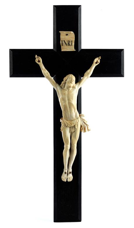 Ebenholzkreuz mit Corpus Christi in Elfenbein