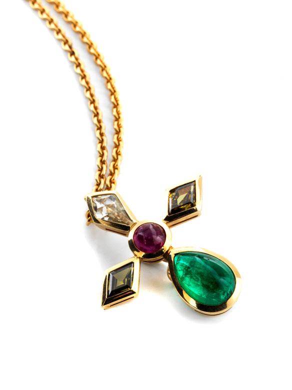 Diamant-Smaragd-Rubinanhänger mit Kette