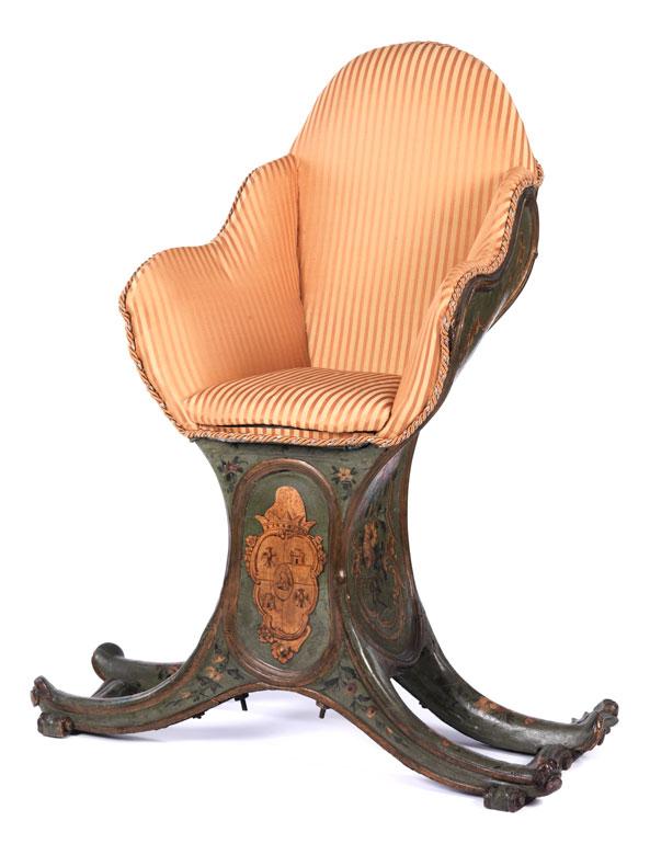 Seltener eleganter Gondelstuhl aus dem Besitz der Familie Thurn und Taxis
