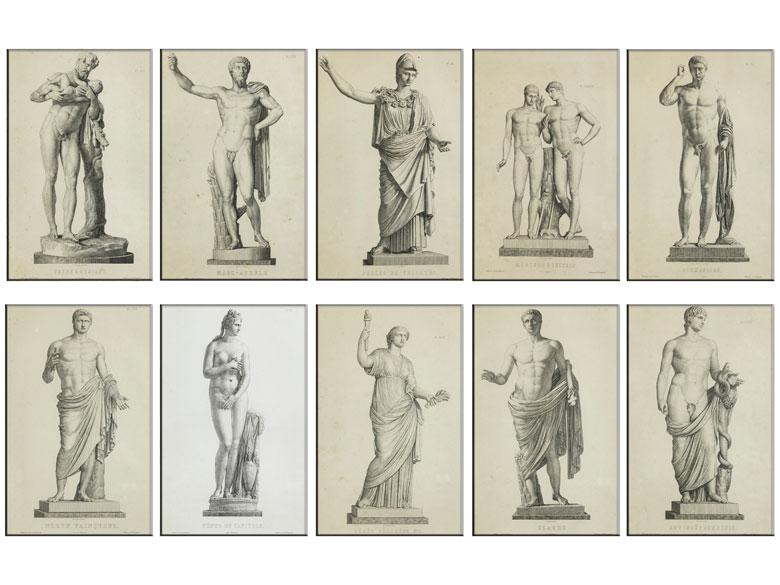 Satz von zehn Stichen nach antiken Götterskulpturen