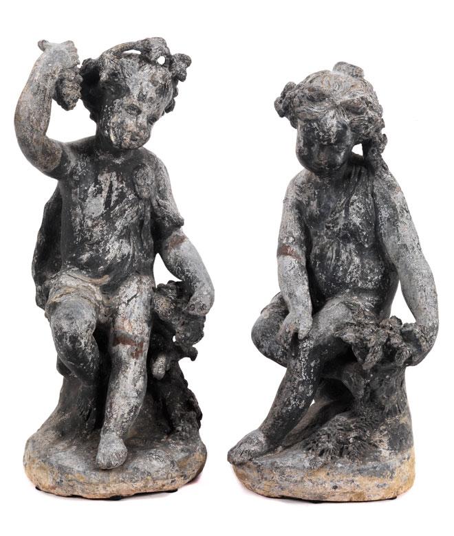Paar Gartenfiguren in Bleiguss