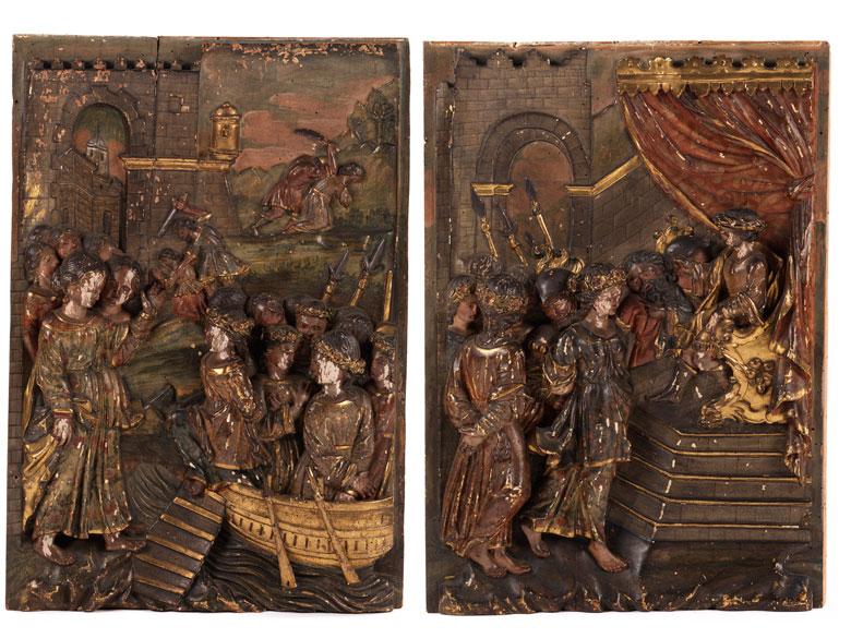 Paar Hochrelieftafeln mit der Darstellung der Heiligen Ursula von Köln