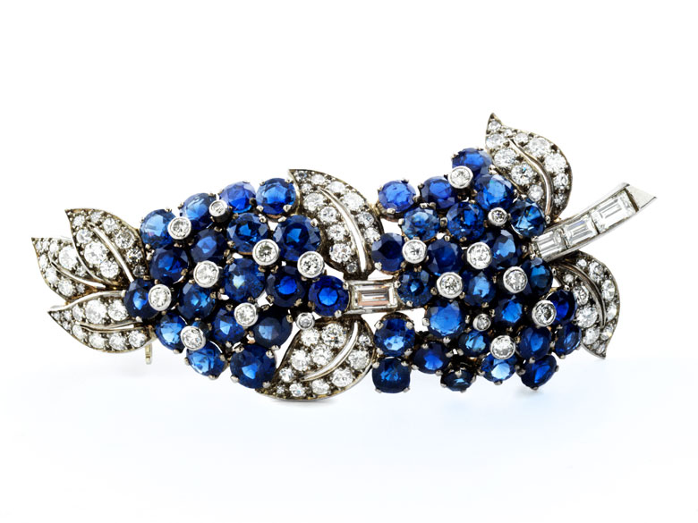 Saphir-Diamantblütenbrosche