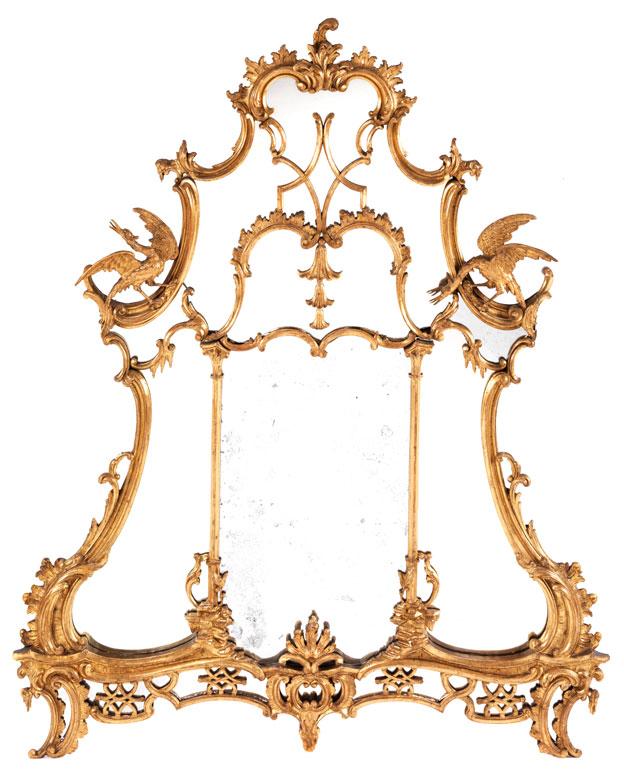 Bedeutender Rokoko-Spiegel mit Vogeldekor