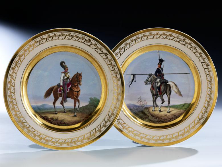Paar Porzellanbildteller