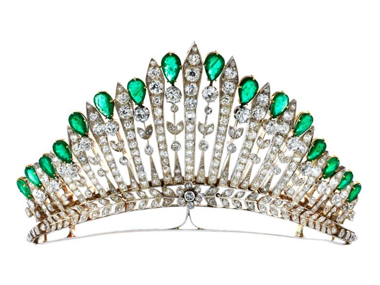 Antike Diamant-Smaragdtiara