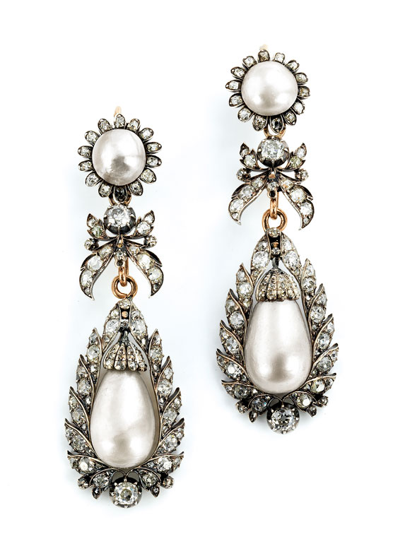 Bedeutende Naturperl-Diamant-Ohrhänger