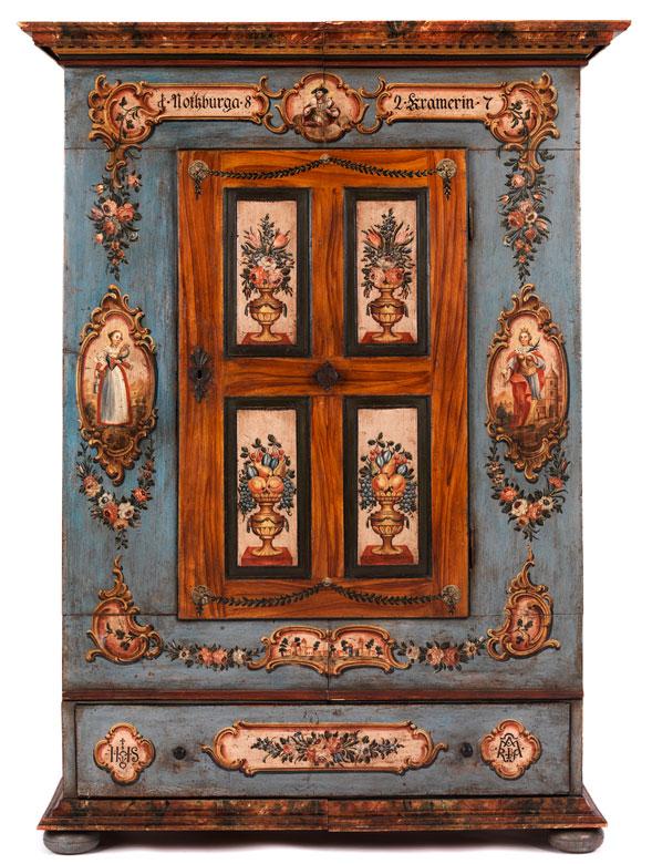 Prächtig bemalter Bauernschrank - Hampel Fine Art Auctions