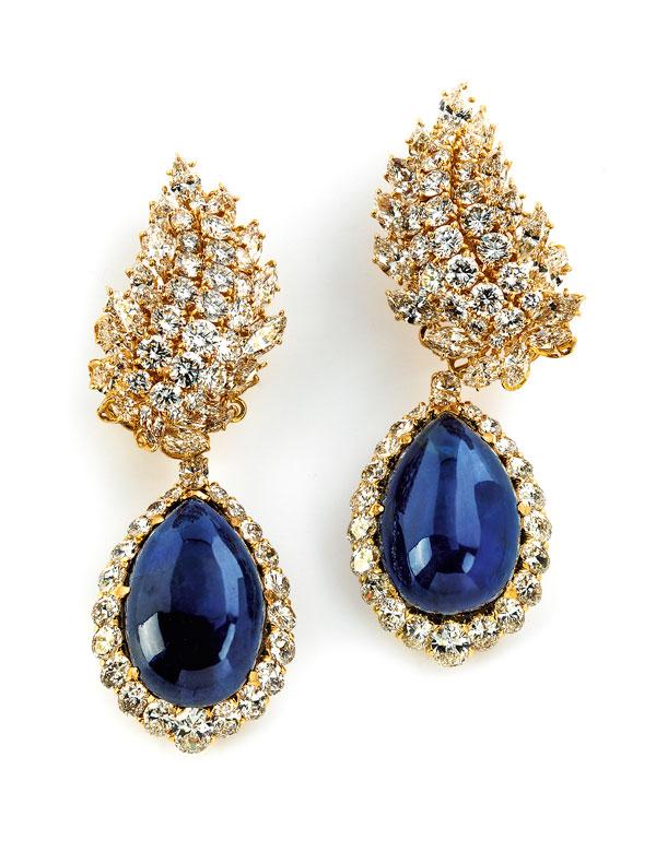 Saphir-Diamantohrringe von M. Gérard