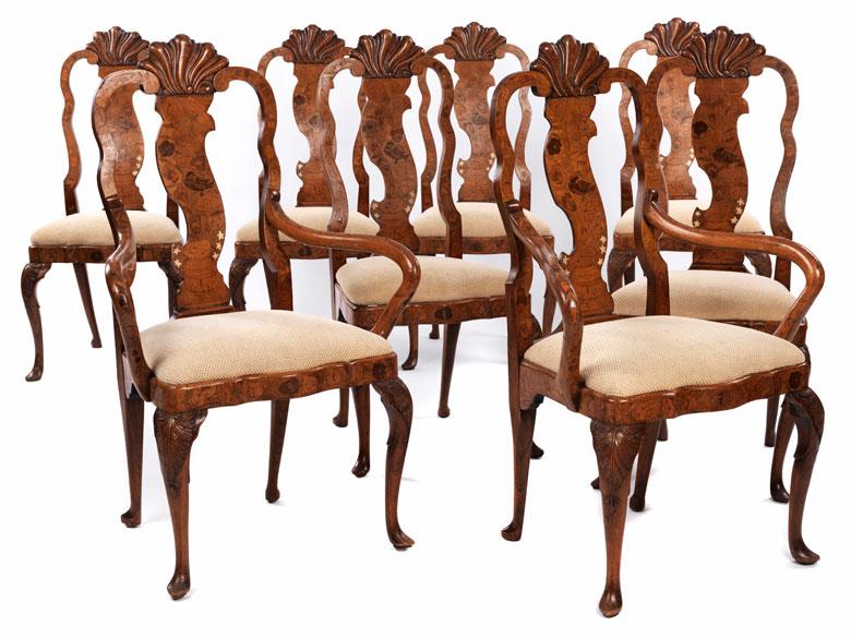 Satz von acht Barockstühlen