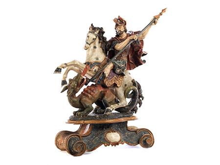 Schnitzfigurengruppe des St. Georg zu Pferde