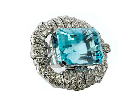 Aquamarin-Diamantbrosche