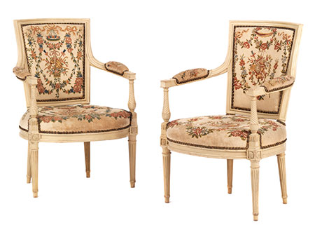 """Paar Louis XVI-Armlehnstühle, signiert """"M. Jullien"""""""
