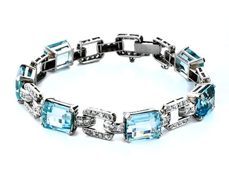 Aquamarin-Diamantarmband