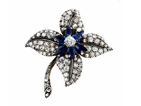 Diamant-Saphirbrosche