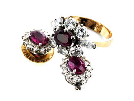 Rubin-Diamantohrstecker und Ring
