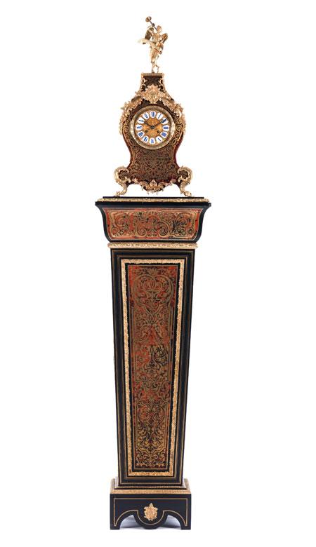 Napoleon III-Standuhr auf Piedestal im Boulle-Stil