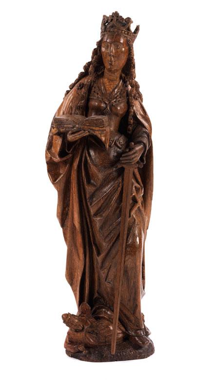 Schnitzfigur der Heiligen Katharina