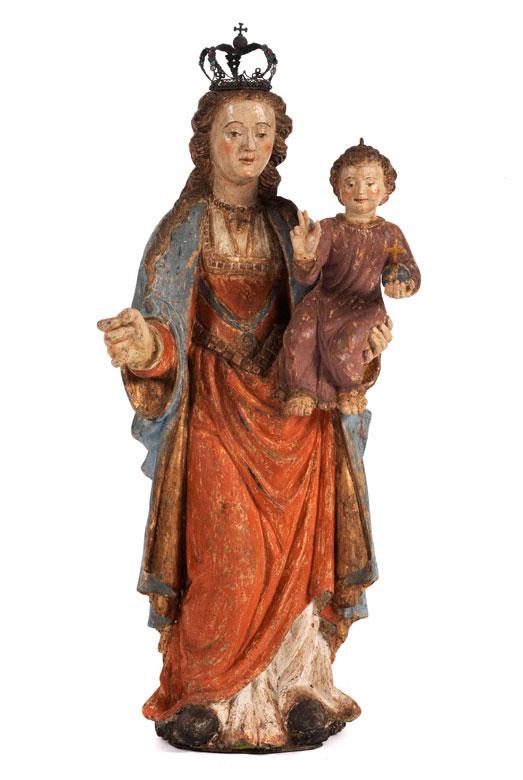 Schnitzfigur einer Maria mit segnendem Jesuskind