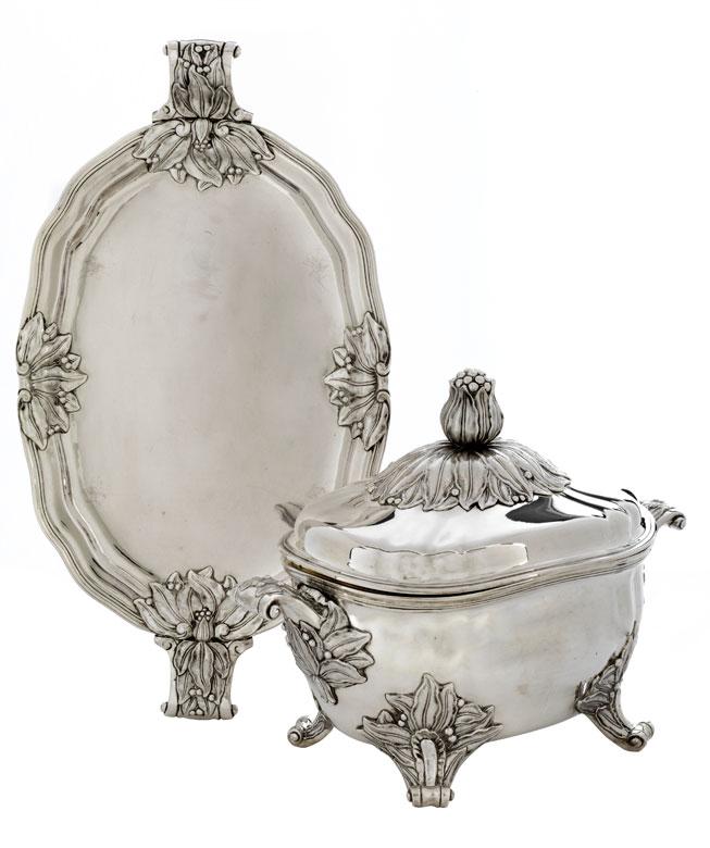 Königliche Dresdner Silberterrine von König Friedrich August III. (1750 - 1827)
