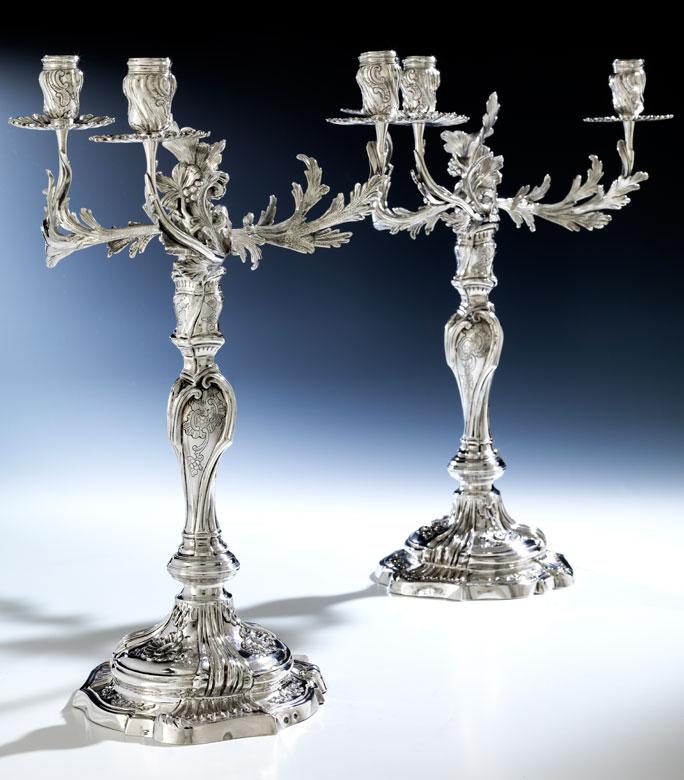 Paar barocke Genueser Silberkandelaber