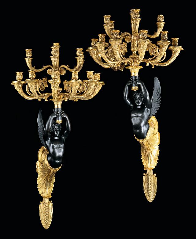 † Paar figürliche Wandappliken im Empire-Stil