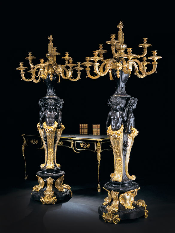 † Paar monumentale Kandelaber im Louis XIV-Stil