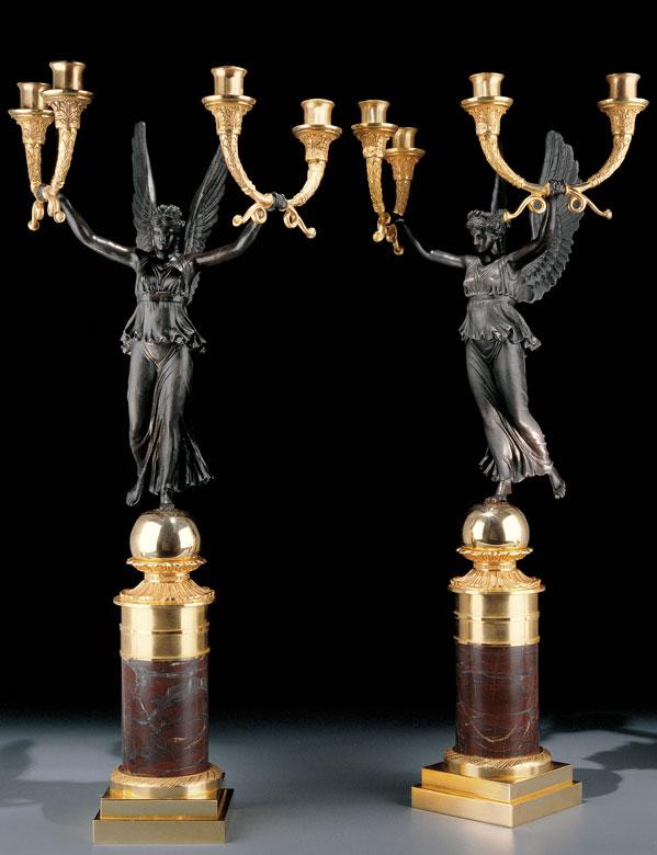 † Paar figürliche Kandelaber im Empire-Stil